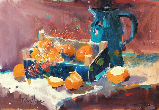 Clementine oranges still life oil painting by Robert Noreika