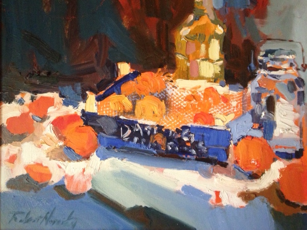 Clementines still life oil painting by Robert Noreika