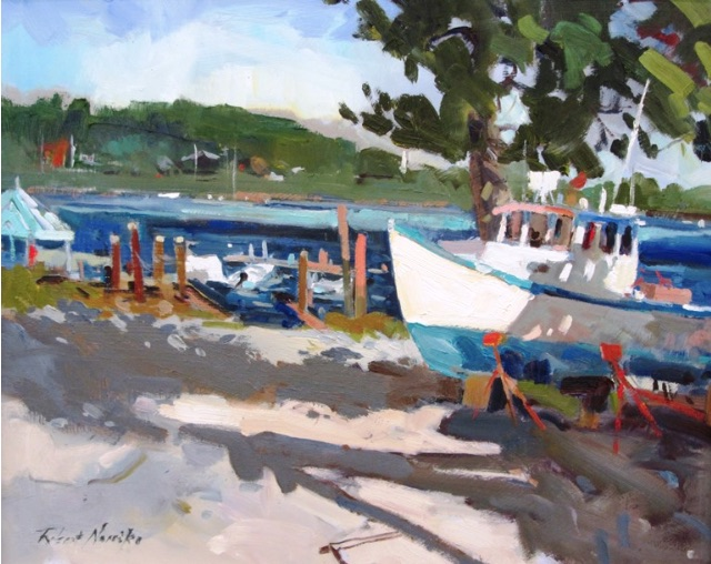 Lobster boat oil painting, by Robert Noreika
