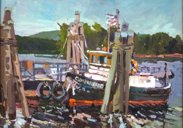 Tug boat oil painting, by Robert Noreika