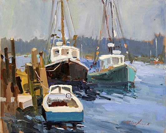Three boats, oil painting by Robert Noreika