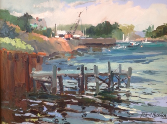Little Island Crane -Marblehead MA oil painting by Robert Noreika