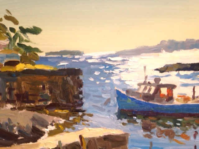 Lobster Boat Blue -Marblehead MA oil painting by Robert Noreika