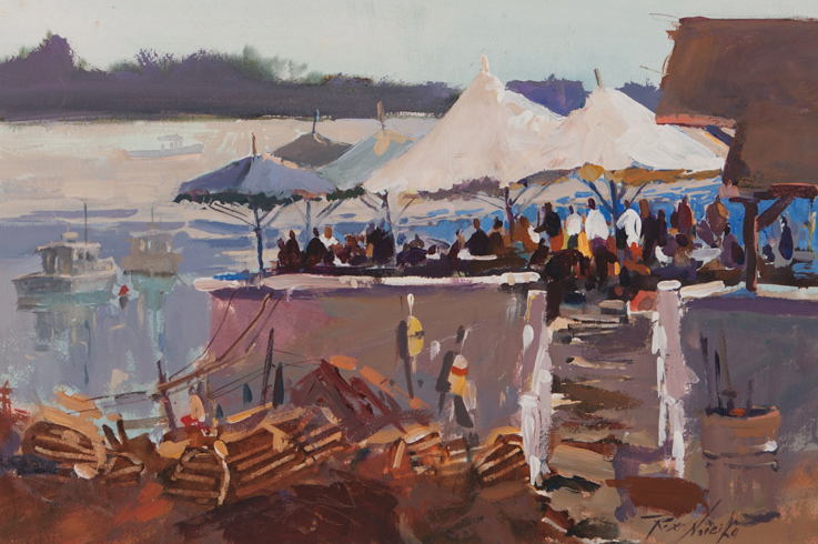 Seaside Cafe, acrylic painting by Robert Noreika